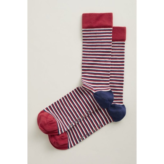Seasalt Men's Everyday Socks - Ladder Dark Tomato