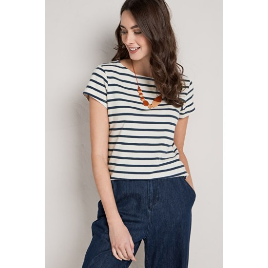 Seasalt Sailor T-Shirt - Breton Ecru Night