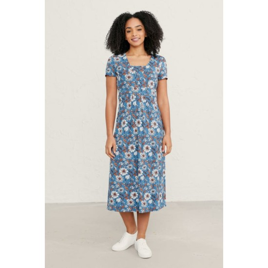 Seasalt Short-sleeved Seed Packet Dress - Sketched Border Slipware Sailor
