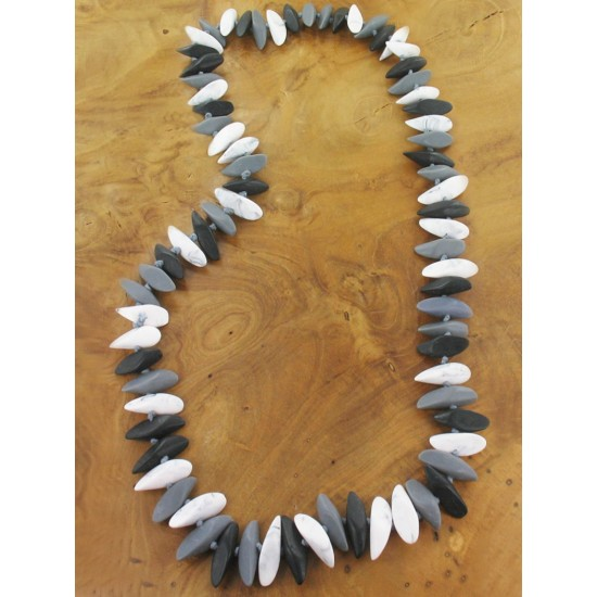 Suzie Blue BB1906BW Mixed Resin Slice Necklace - Monochrome