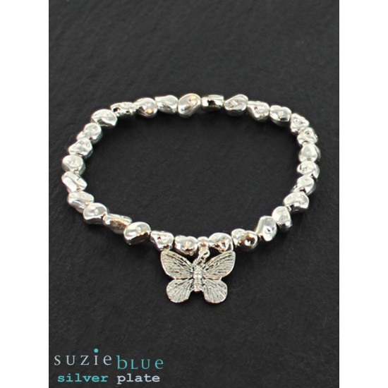 Suzie Blue SP101B Elasticated Nugget Bracelet with Butterfly Charm