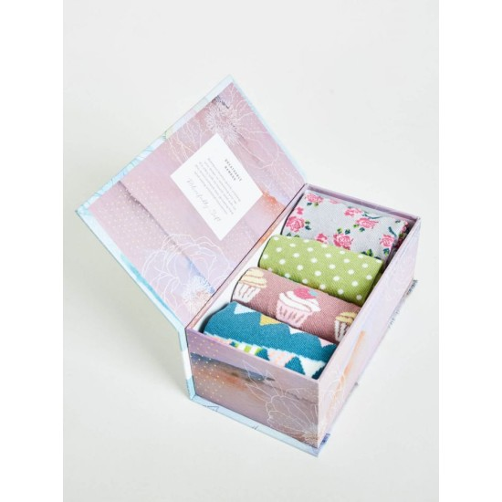 Thought 4 Pack Bamboo Sock Gift Box - Garden Party