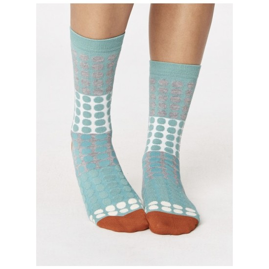 Thought Eva Checkered Bamboo Socks - Sage