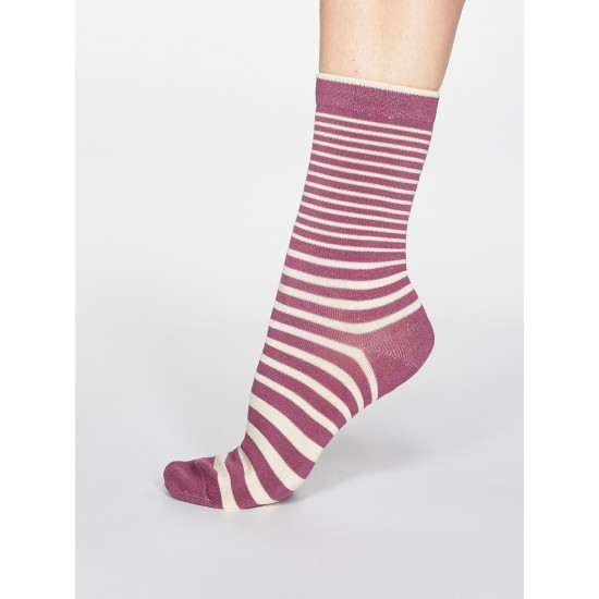 Thought Jacinda Striped Bamboo Blend Socks - Mauve Pink