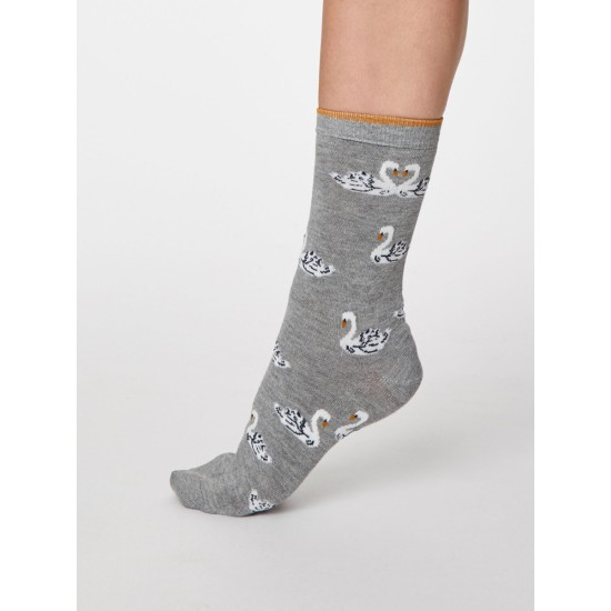Thought SPW465 Cigno Bamboo Swan Socks - Mid Grey Marle