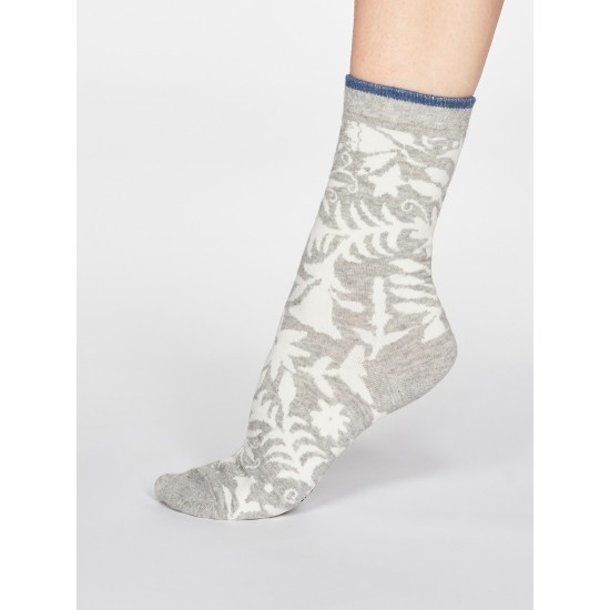 Thought SPW623 Marrette Floral Cotton Socks - Grey Marle