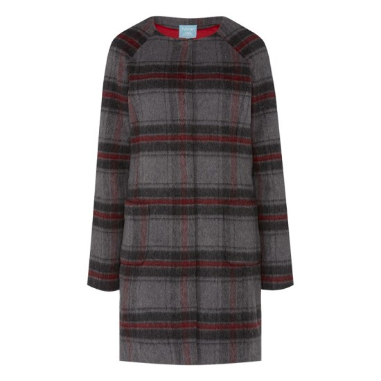 Tulchan Collarless Check Coat - Elephant Grey