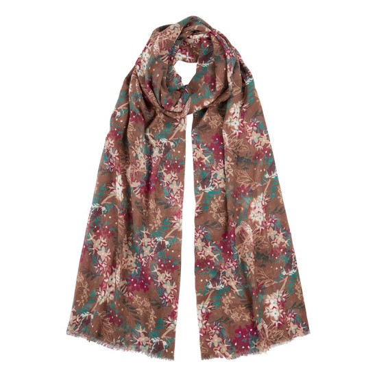 Tulchan Country Floral Scarf - Mushroom Brown