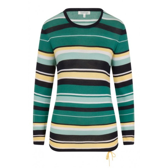 Tulchan Draw Cord Stripe Jumper - Spruce Green