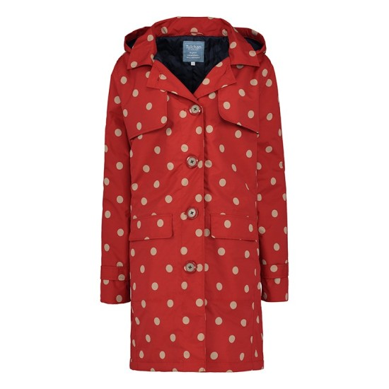 Tulchan Hooded Trench Coat - Scarlet Red