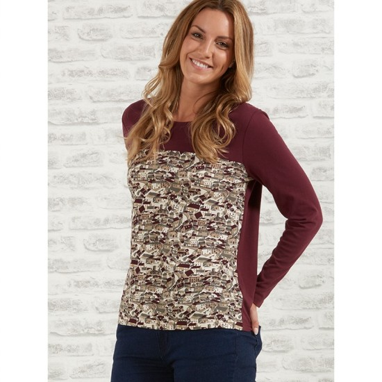 Tulchan Print Front and Yoke Top - Eggplant Purple