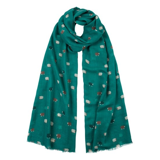 Tulchan Sheep Print Scarf - Spruce Green