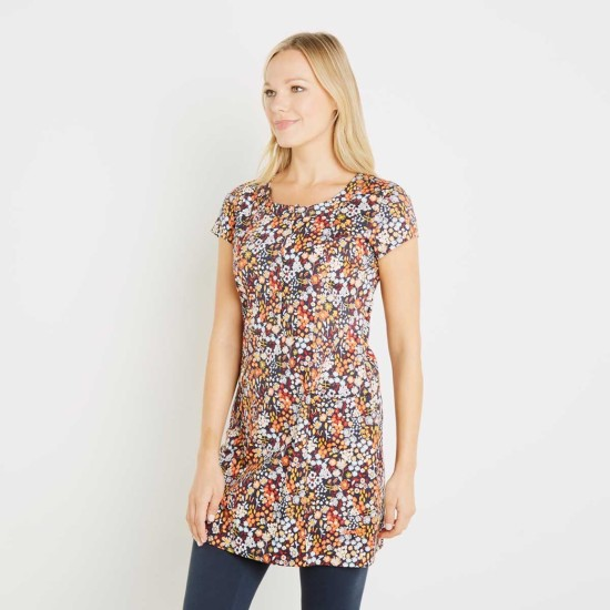 Weird Fish Alanis Printed Stretch Tunic - Paprika