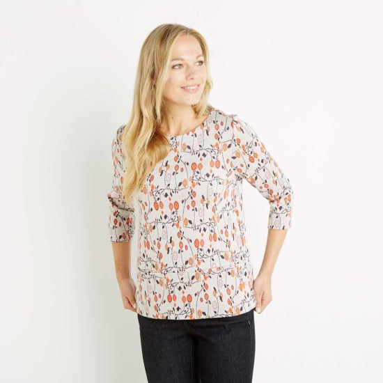 Weird Fish Jacobina Jacquard T-Shirt - Porridge