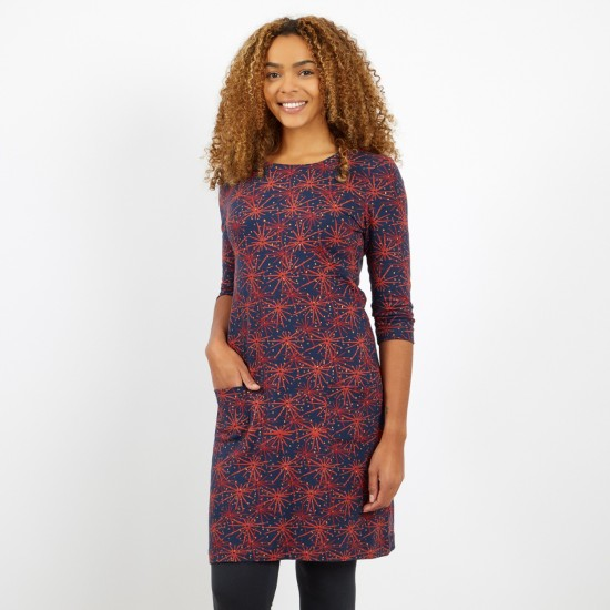 Weird Fish Markle Sparkle Printed Jersey Dress - Midnight