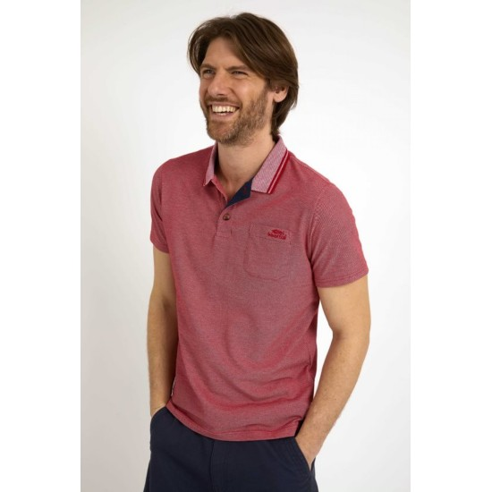 Weird Fish Mens Harlow Eco Pique Polo - Chilli Pepper