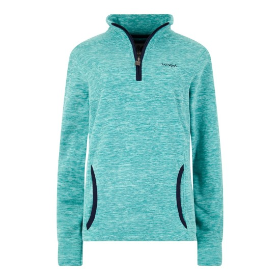 Weird Fish Nancy 1/4 Zip Melange Fleece Sweatshirt - Teal Blue