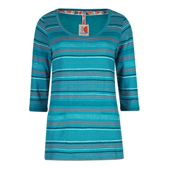 Weird Fish Paloma Fancy Stripe T-Shirt - Blue Jay