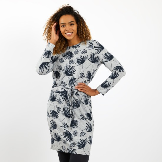 Weird Fish Sydney Printed Jersey Dress - Grey Marl