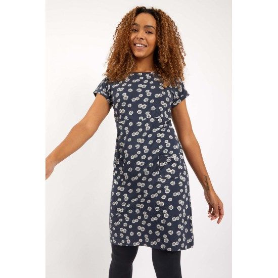 Weird Fish Tallahassee Printed Jersey Dress - Navy