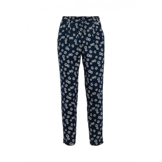 Weird Fish Tinto Printed Viscose Trousers - Navy