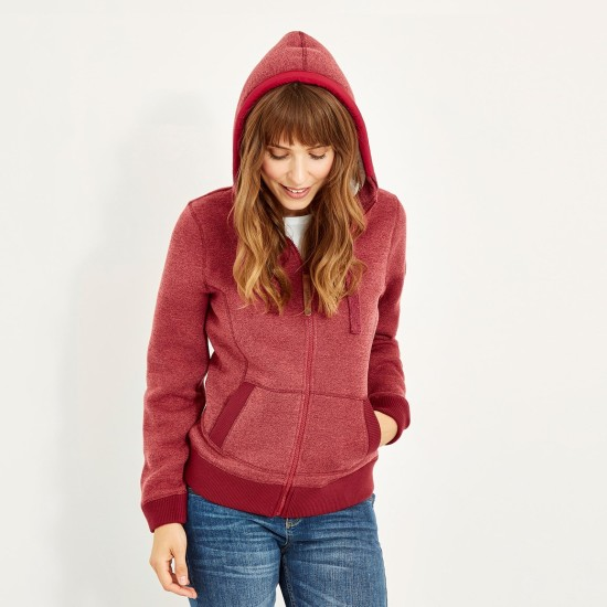 Weird Fish Tova Full Zip Soft Knit Hoodie - Rhubarb